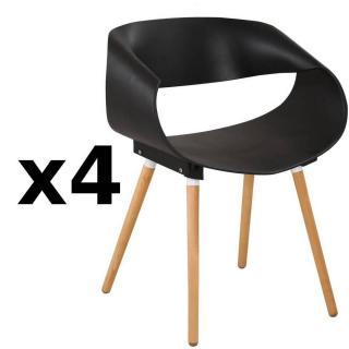 Lot de 4 chaises design scandinave ORBITAL noire matte piétement chêne clair
