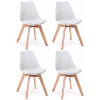 Lot de 4 chaises OSLO design scandinave blanche piétement en hêtre