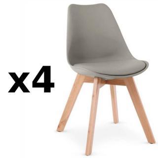 Lot de 4 chaises OSLO grise design scandinave piétement en hêtre