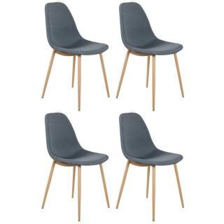 Lot de 4 chaises STOCKHOLM design scandinave tissu gris bleu