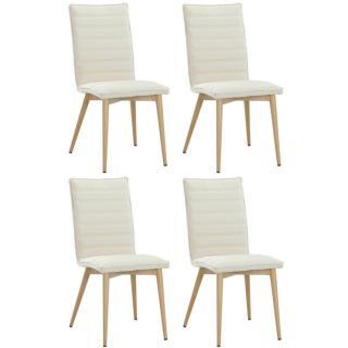 Lot de 4 chaises design scandinave UTGARD tissu beige