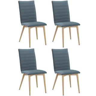 Lot de 4 chaises design scandinave UTGARD tissu bleu