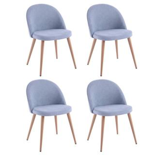 Lot de 4 chaises design scandinave VELVET tissu bleu clair