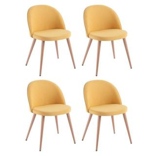 Lot de 4 chaises design scandinave VELVET tissu jaune