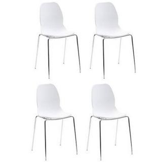 Lot de 4 chaises SHELL METAL design blanche piétement chromé