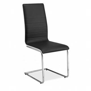 Lot de 4 chaises design SYDNEY en tissu enduit simili façon cuir noir dossier glossy blanc piétement métal type luge