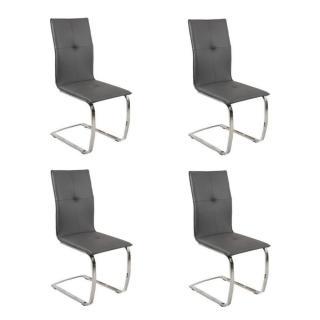Lot de 4 chaises design SWING revêtement polyuréthane façon cuir graphite piétement chromé type luge