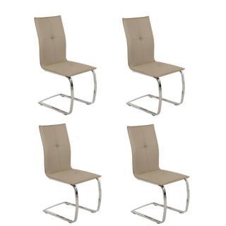 Lot de 4 chaises design SWING revêtement polyuréthane façon cuir taupe piétement chromé type luge