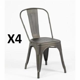 Lot de 4 chaises BISTRO INDUS