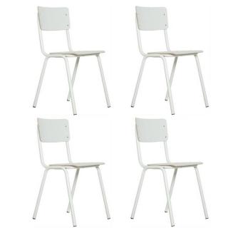 ZUIVER Lot de 4 chaises  BACK TO SCHOOL blanche