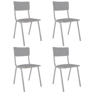 ZUIVER lot de 4 chaises BACK TO SCHOOL grise
