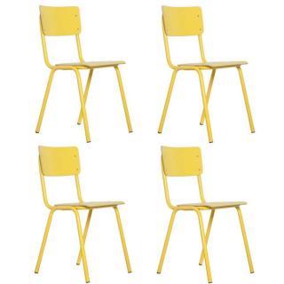 ZUIVER lot de 4 chaises BACK TO SCHOOL jaune