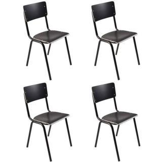 ZUIVER Lot de 4 chaises  BACK TO SCHOOL noire