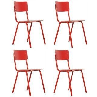 ZUIVER lot de 4 chaises BACK TO SCHOOL rouge