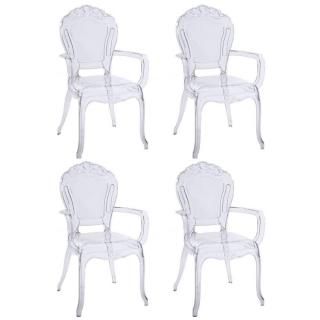 Lot de 4 fauteuils design NAPOLEON en polycarbonate transparent