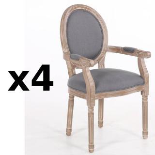 Lot de 4 fauteuils médaillon VERSAILLES style louis XVI lin gris
