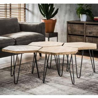 Lot de 4 tables basses design industriel HEXA en bois massif