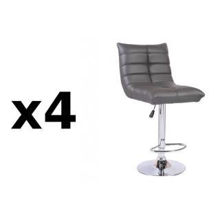 Lot de 4 chaises de Bar COOL en tissu enduit polyuréthane simili façon cuir gris