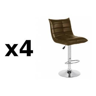 Lot de 4 chaises de Bar COOL en tissu enduit polyuréthane simili façon cuir chocolat