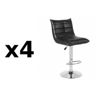Lot de 4 chaises de Bar COOL en tissu enduit polyuréthane simili façon cuir noir
