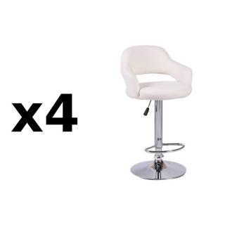 Lot de 4 chaises de Bar FRESH  en tissu enduit polyuréthane simili façon cuir blanc