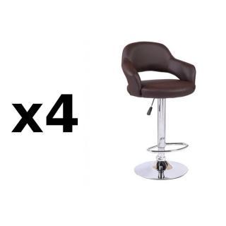 Lot de 4 chaises de Bar FRESH en tissu enduit polyuréthane simili façon cuir marron