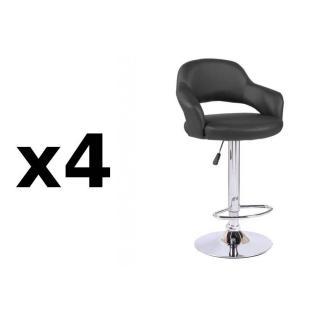 Lot de 4 chaises de Bar FRESH en tissu enduit polyuréthane simili façon cuir noir