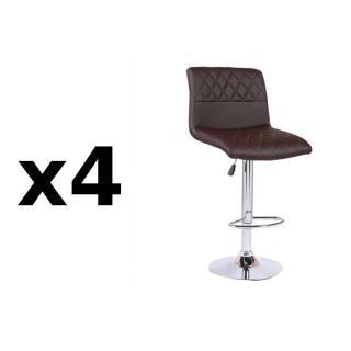 Lot de 4 chaises de Bar MOON en tissu enduit polyuréthane revêtement polyuréthane façon cuir marron