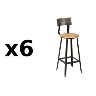 Lot de 6 chaises de bar OLYMPE en acier vieilli