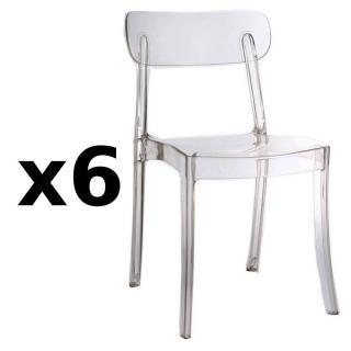 Lot de 6 chaises design bistrot SIXTEES en polycarbonate transparent