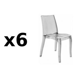 Lot de 6 chaises CRISTAL LIGHT design fumée
