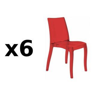 Lot de 6 chaises CRISTAL LIGHT design rouge