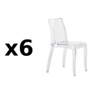 Lot de 6 chaises CRISTAL LIGHT design