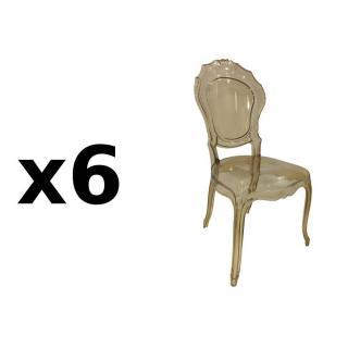 Lot de 6 chaises design NAPOLEON en polycarbonate transparent champagne