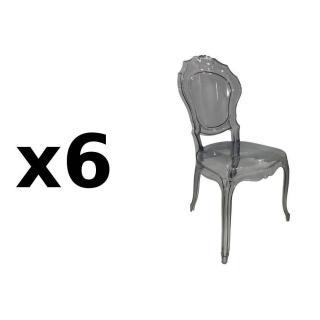 Lot de 6 chaises design NAPOLEON en polycarbonate transparent gris