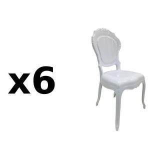Lot de 6 chaises design NAPOLEON en polycarbonate opaque blanc