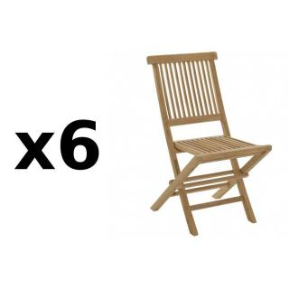 Lot de 6 chaises de jardin JAVA en teck