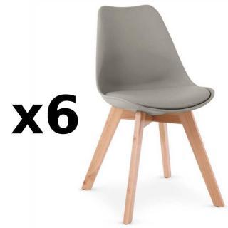 Lot de 6 chaises OSLO grise design scandinave piétement en hêtre