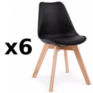 Lot de 6 chaises OSLO noire design scandinave piétement en hêtre