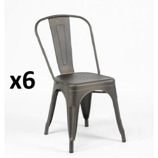 Lot de 6 chaises BISTRO INDUS