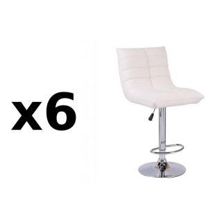 Lot de 6 chaises de Bar COOL en tissu enduit polyuréthane simili façon cuir blanc