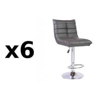Lot de 6 chaises de Bar COOL en tissu enduit polyuréthane simili façon cuir gris