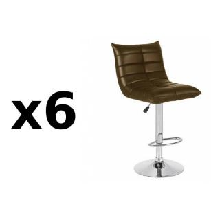 Lot de 6 chaises de Bar COOL en tissu enduit polyuréthane simili façon cuir chocolat