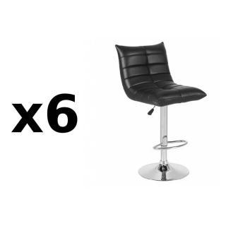 Lot de 6 chaises de Bar COOL en tissu enduit polyuréthane simili façon cuir noir