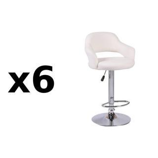 Lot de 6 chaises de Bar FRESH  en tissu enduit polyuréthane simili façon cuir blanc