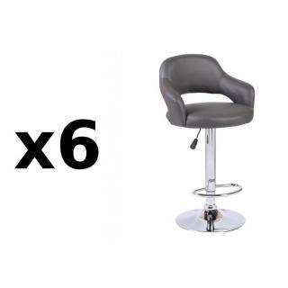 Lot de 6 chaises de Bar FRESH en tissu enduit polyuréthane simili façon cuir gris