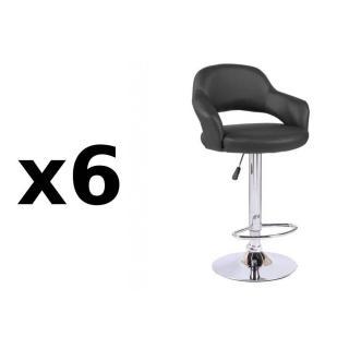 Lot de 6 chaises de Bar FRESH en tissu enduit polyuréthane simili façon cuir noir