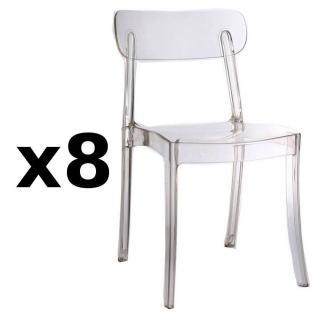 Lot de 8 chaises design bistrot SIXTEES en polycarbonate transparent