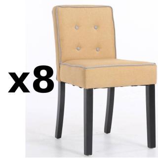 Lot de 8 chaises design contemporain CHARLEMAGNE tissu lin jaune