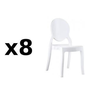 Lot de 8 chaises médaillon IMPÉRATRICE style Louis XVI en polycarbonate blanc opaque